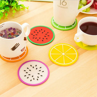 2017 New Household Colorful Jelly Color Fruit Shape Coasters Creative Skid Insulation Cute Silica Gel Cup Mat 8.8*8.8CM XH05101