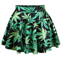 Green Weed Pattern Print Skirt = 1946944708
