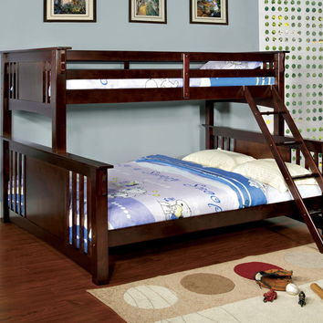 Furniture of america CM-BK604-EXP Spring creek iii dark walnut wood finish twin over queen bunk bed with front angled ladder
