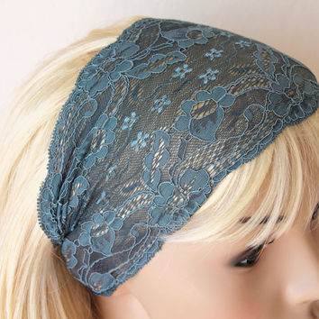 Petroil Green Headband Stretchy Lace Turban Band by fairstore