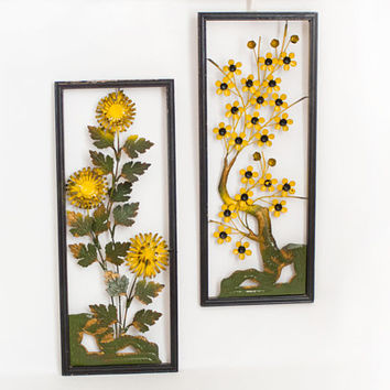 Mid Century Metal Flower Wall Art, Vintage 3D Yellow Tole Ware Hanging Panels, 1950s Decor