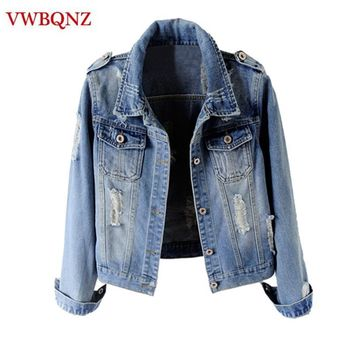 Trendy Women Jeans Jacket Short Cool Outerwear Large Size Slim Long Sleeve Denim Jackets Single Breasted Casual Female Basic Coat 6XL AT_94_13