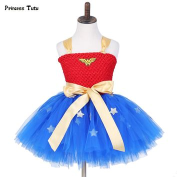Summer Kids Girl Tutu Dress Wonder Woman Halloween Costume Birthday Dresses For Party Cosplay Superman Costume Baby Party Frocks
