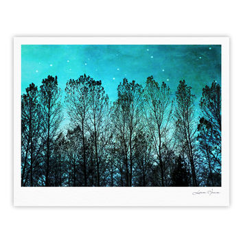 "Sylvia Cook ""Dark Forest"" Blue Trees Fine Art Gallery Print"