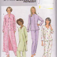 Asian inspired lounging pajamas pattern with V neckline and long sleeved, calf length robe misses size L XL 16-22 Butterick 4406 UNCUT