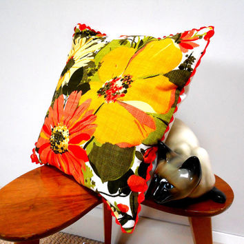 Vintage Fabric Cushion retro 60s 70s yellow flower power