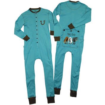 Horse Tail End Blue Flapjack Toddler Union Suit