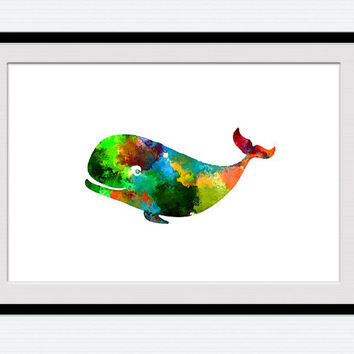Whale watercolor print Whale colorful poster Sea animal illustration Nautical print Nautical gift Home decoration, wall art, Nursery  W36