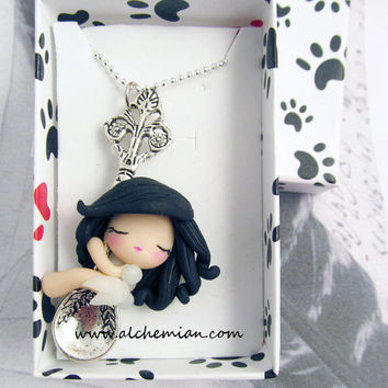 1 lucky fairy with spoon ooak necklace made in by AlchemianShop