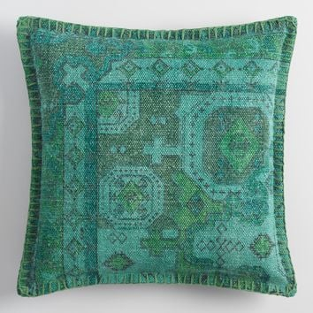 Teal Overdyed Cotton Throw Pillow
