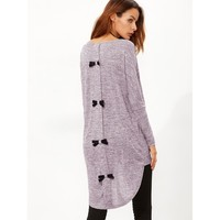 Marled Knit Bow Back High Low T-shirt Casual