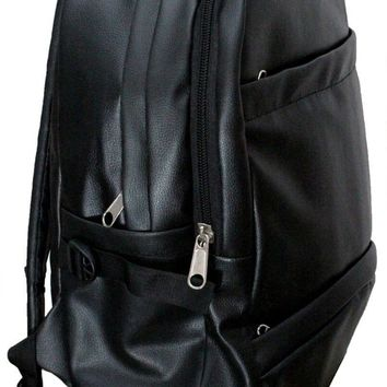 IN INDIA School/College Office PU Leather Backpack - Jet Black ( Shiny Finish)