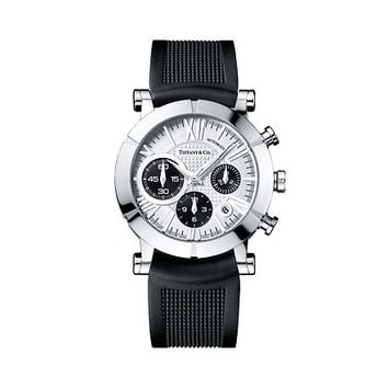 Tiffany & Co. -  Atlas® chronograph watch in stainless steel, mechanical movement. Rubber strap.