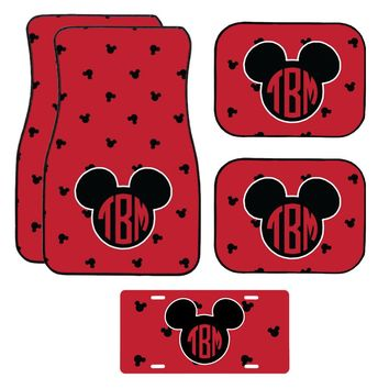 Disney Black and Red Patterned Mickey Mouse Inspired Car Mat / Car mat Monogram