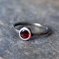 Garnet Solitare Engagement Ring Sterling Silver Distressed Ring