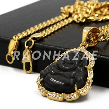 Stainless Steel Gold Iced Out Smiling Chubby Buddha (Black Jade) Pendant w/Cuban Chain