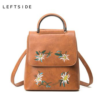 LEFTSIDE Fashion Vintage Embroidered Sweet Backpack Classic Backpacks For Women Fashion Bags School Luxury Flowers Bags