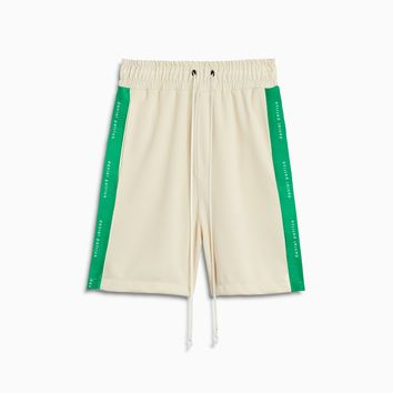 roaming gym short / ivory + green