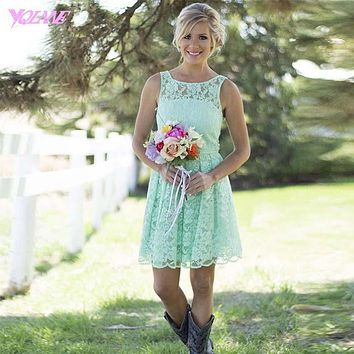 Mint Green Lace Bridesmaid Dresses Short Wedding Party Dress Boat Nexk Zipper Back Custom Made
