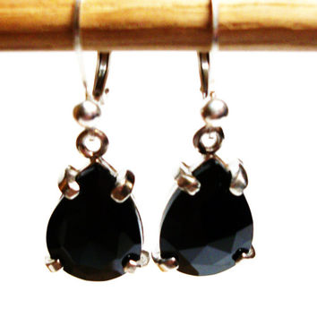 "Black spinel, black spinel  earrings, black dangle earrings, pear dangle earrings, lever back earrings, black earrings,  ""Foot Loose"""