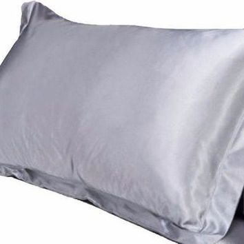 ONETOW 1pc Pure Emulation Silk Satin Pillowcase Single Pillow Cover Multicolor 48*74cm Day-First?
