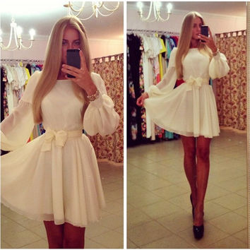 Ladies Fashion Long Sleeved White Chiffon Dress Elegant Girls Princess Dress Hot Clubbing Mini Dresses = 1945771652