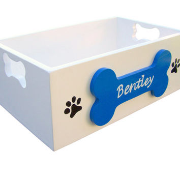 Painted Wooden Dog Toy Storage Box