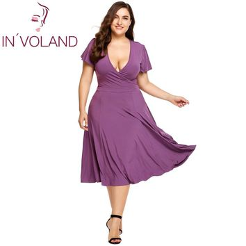 IN'VOLAND Vintage For Dress Plus Size Sexy Deep V-Neck Wrap Front Short Sleeve Solid Pleated Swing Party Dresses Oversized