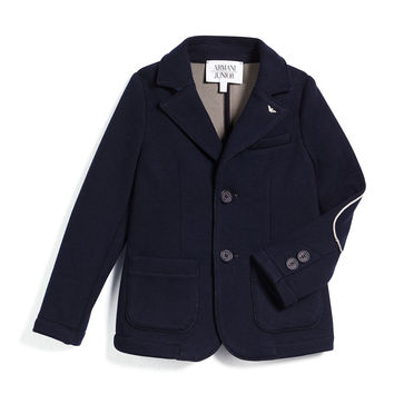 Contrast-Trim Knit Two-Button Blazer, Navy,