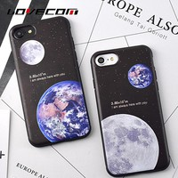 "LOVECOM Moon Earth Distance ""I am always here with you"" Pattern For iphone 6 6S 7 8 Plus X Soft TPU Silicon Phone Cases Shells"