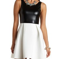 Faux Leather Skater Dress by Charlotte Russe - Black/White