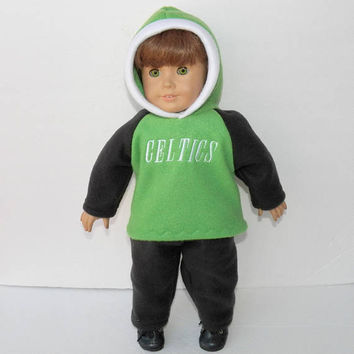 18 inch doll clothes, Boston Basketball Fan, Hoodie, Pants, polar fleece, bright green, black, white, handmade by adorabledolldesigns