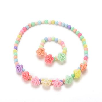 Candy Beaded Bubblegum Necklace Lovely Kids Necklaces Bracelet Rose Shaped Baby Girl Party Jewelry Multicolor