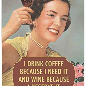 Extra Large Funny Birthday Greeting Card - 'Drink Coffee and Wine- Big Happy Birthday Wishes From Friends and Family - Funny Birthday Card - Free Shipping
