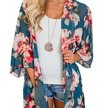 Anderlay Womens Sheer Chiffon Floral Kimono Cardigan Loose Cover Ups Tops Outwear