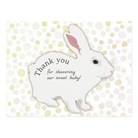 Colorful Polka Dots Bunny Baby Shower Thank You Postcard