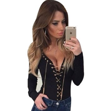 Sexy Chain Lace Up Blouse Shirt Slim Deep V Neck Gold Chain Bandage Long Sleeve Women Tops Fashion Party Club Femme Blouse
