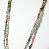 3 in 1 Watermelon Tourmaline and Jade necklace, jade necklace, tourmaline necklace, multi colored jewelry, 2 strand necklace