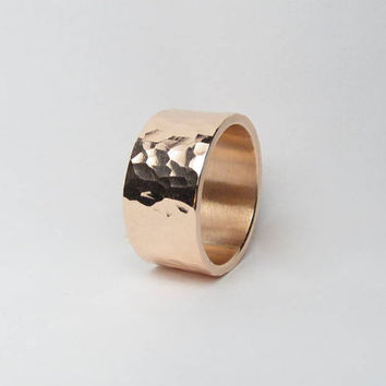 Hammered Copper Ring Hammered Ring Wide Ring Wide Band 9mm Wide Handmade Made to Size