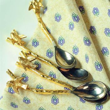 """JUST A SWALLOW"" GILDED SPOONS (SET OF 4) - Gold Bird Teaspoons"