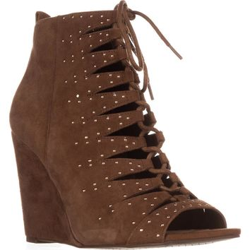 Jessica Simpson Barlett Strappy Studded Wedge Pumps, Canela Brown, 8 US / 38 EU