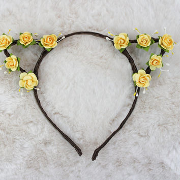 Lemon Yellow Cat Ears - Flower Cat Headband - Cat Ears Headband - Kitty Ears -  Coachella Festival - Kitten Play Ears - Petplay - Kittenplay
