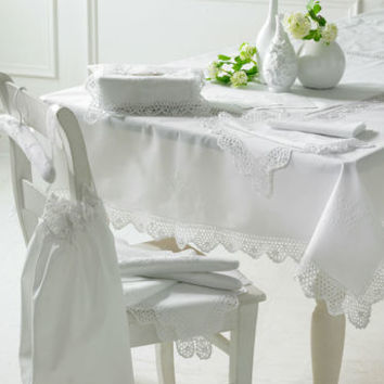 White Cotton Crochet Edged Tablecloth