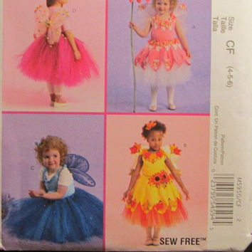 SALE Uncut McCall's Sewing Pattern, 5950! 4-5-6 Toddler/Girls/Kids/ Fairy Princess Costumes/Angels/Tutus/Pedal Skirts/Wings/Flower Girl Dres
