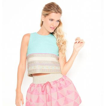BLUE WOOL JERSEY & PINK SKIRT
