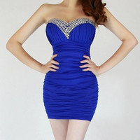 Sapphire Blue Strapless Ruched Mini Dress