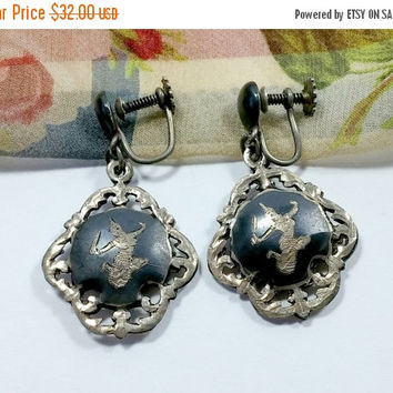 Vintage Siam Sterling Earrings Black Nielloware Dangles Screw Back Screwback Earrings Non-Pierced but can be Converted VGC Oxidation