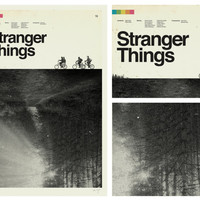 STRANGER THINGS Inspired Art Print Movie Poster - 12 x 18 Minimalist, Graphic Design, Mid Century Modern, Sci fi, Vintage Style, Bicycles