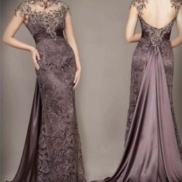Vestidos De Fiesta 2014 New Arrival Lace Sexy Backless Elegant Long Evening Dresses Floor Length Formal Prom Dress Custom made 1422127584