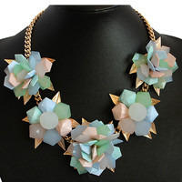 Multicolor Flower Shape Chain Necklace